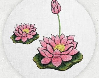 1 pc Pink Purple Lotus Flower Embroidery Appliques Patch Trim for wedding dress Shirts Trousers Skirt formal full dress