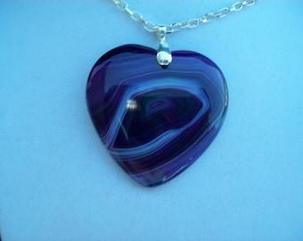"""Purple Swirls Heart Agate Pendant 2"""" long"""