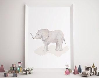 SALE! Watercolor Elephant Print, Nursery Art, Printable Wall art, Watercolor Elephant, Instant Download, Baby Gift, Printable, Nursery Print