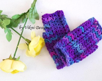 Galaxy Fingerless Gloves, Crochet Women Gloves, Fingerless Mittens by Vikni Designs