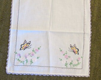 Vintage Hand Embroidered Cotton Table Runner with Butterflies and Flowers