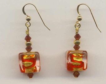Red Swirls, 24 Karat Gold Foil, Murano Glass, Venetian Beads, Dangle Cube Earrings, Handmade, Lampworked Italian Glass, Wirewrapped