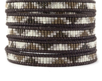 5 wrap bracelet,5x wrap leather bracelet, bohemian bracelet,wrap bracelet, leather wrap bracelet, beaded wrap bracelet, Artisan Boho Chic