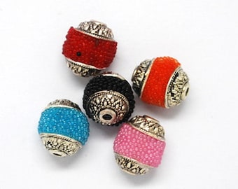 Little Handmade Indonesia Beads, with Brass Core, Round, Mixed Color, Size about 8mm in diameter, 9mm thick, hole: 1mm   101