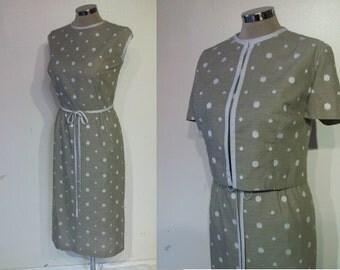 "Smart 1950s polka dot wiggle dress w/jacket waist  32""- 32 1/2"" string belt"