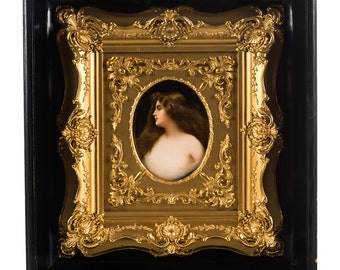 Hutschenreuther Wagner Painted porcelain plaque of a beautiful woman