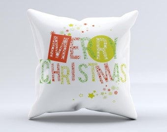 The Green and Red Merry Christmas ink-Fuzed Decorative Throw Pillow