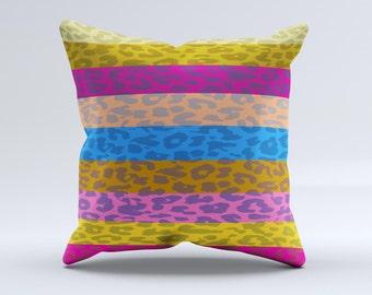 The  Neon Striped Cheetah Animal Print  ink-Fuzed Decorative Throw Pillow