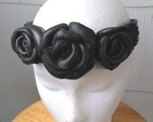 Lady Grey Leather Rose Crown Circlet Headband Dark Gray Handmade Costume Roleplay LARP Renaissance Faire Art Nouveau Fantasy