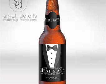 Will you be my Groomsman? Best Man, Usher, or Master of Ceremonies Beer bottle labels - Personalized Wedding Party bottle labels