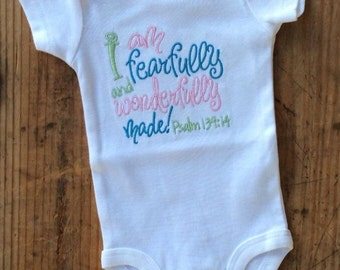 I am fearfully and wonderfully made embroidered shirt