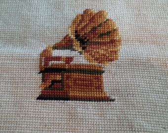 Vintage Needlepoint of a Gramophone