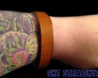 Leather Bracelet Cuff Tan Brown