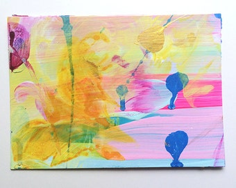 Handpainted postcard (acrylic on paper) 12/16 - original abstract mini painting, wall art, interior design, homedecor, neon