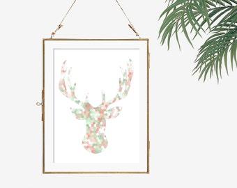 Deer head print geometric artwork hexagon print mint green decor peach and green art modern wall decor print deer antler art dorm poster 5x7