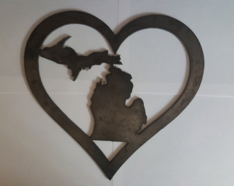"Love Michigan metal sign made of 1/8th"" steel"