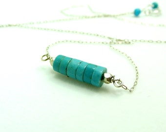 Turquoise Bar Necklace, Charming Accessory