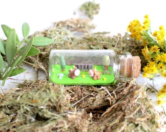 Cow Miniature bottle farm polymer clay decoration cattle homedecoration