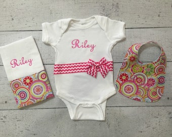 Personalized Baby Girl Bodysuit, Bib and Burp Cloth Set, Create Your Own