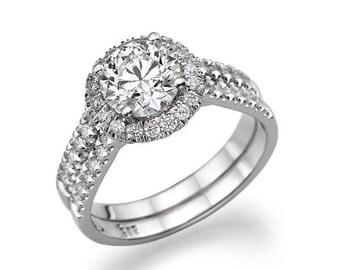 1.02 CT Halo Diamond Engagement Ring Platinum Round F SI1 Model JR-777