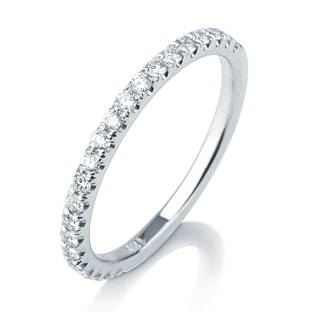 Pavé Bands: Micro Pave Diamond Wedding Band Delicate Wedding Band 14k