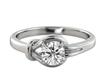 1.50ct White Sapphire Engagement Ring Yellow Gold 14K 4 prongs Round