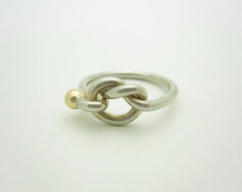 Tiffany & Co. 18K Yellow Gold and Sterling Silver Twist Knot Ring Size 7