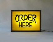 """Hand Painted """"Order Here"""" Sign in Yellow background / Vintage Wooden Lightbox / Illuminated Sign / Industrial Rustic / Home Cafe Decor"""