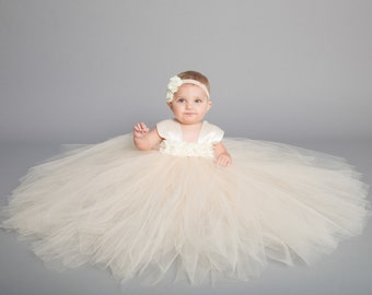 Flower girl dress - Tulle flower girl dress - Champagne Dress - Tulle dress-Infant/Toddler -Pageant dress -Princess dress-Beige flower dress
