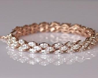 Rose Gold Bracelet, Rose Gold Crystal Bracelet, Crystal Bridal Jewelry, Crystal Tennis Bracelet, Crystal Wedding Jewelry, INDIA RG