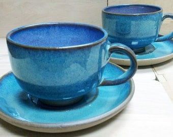 Set of 2 Cups & saucers with Ombre light Turquoise blue glaze, Handmade Pottery Wheel Thrown