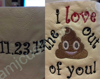Love Themed Embroidered Toilet Paper-Toilet Paper Gift-Funny Toilet Paper-Decorative Toilet Paper-Personalized Toilet Paper
