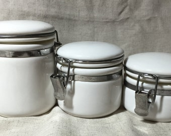 Set of 3 Ceramic White Baled Storage Containers/ various sizes