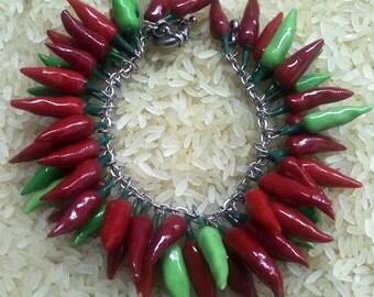 Red hot chili pepper bracelet red bracelet, red hot pepper, original gift, lady vamp, halloween,red hot chili peppers