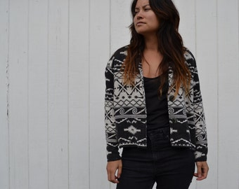 Vintage woven black and white tribal print jacket