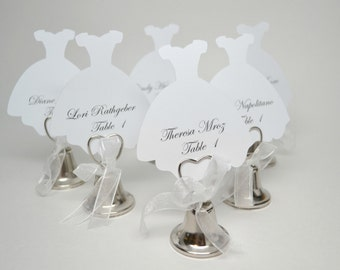 Wedding Dress Place Card, Bridal Shower Place Cards, Fairytale Wedding Place Cards, Wedding Shower Table Numbers