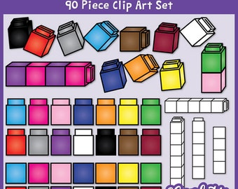 Unifix Cubes Clip Art / Linking Cubes / Counting Cubes / Math Manipulatives / 300 DPI PNG /  Instant Download