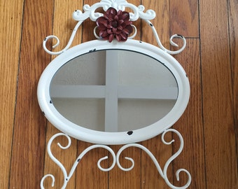 Oval wall mirror cream with marron flower, ornate shabby chic