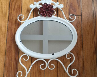 Oval wall mirror cream with maroon flower, ornate shabby chic