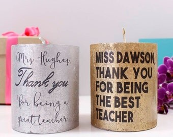 Personalised Thank You Teacher Metallic Candle / Thank You Gift / Teacher Gift / Form Teacher / Teaching Assistant Gift