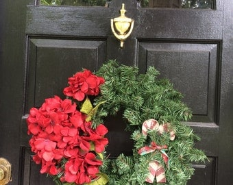 Christmas Wreath, Red Flowers with ski Front door Christmas Wreath, Holiday Decor, Front Door Wreath, Christmas Season Wreath, CW-33