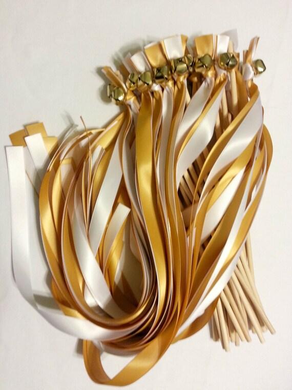 Metallic Foil Streamer Wands : 100 Ribbon Bell Wands ~ Wedding Ceremony ~ Send off Bells ~Wedding