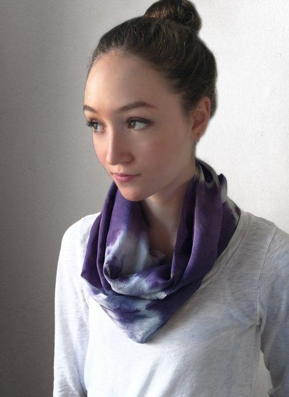 Purple Scarf-Infinity Scarf-Silk-Scarf-Scarves-Scarves for Fall-Scarves for Summer--Scarves for Spring-Holiday Gift-Gift for Mom-Gift for My