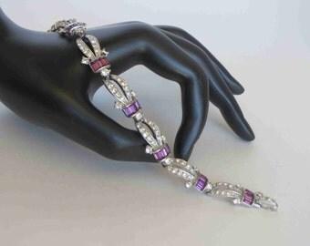 LEDO Art Deco Style Amethyst & Crystal Rhinestone Bracelet