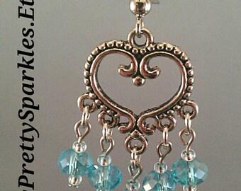 Blue Crystal Chandelier Earrings / silver heart earrings / blue chandelier earrings / crystal chandelier earrings / bridesmaid gifts