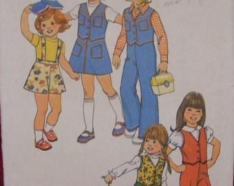 "1975 Child's Vest Skirt Pants Suspenders Vintage Simplicity Sewing Pattern 7321 Size 4 Chest 23"""
