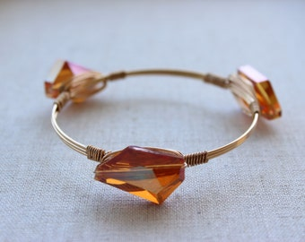 Orange Crystal Wire Wrapped Bracelet