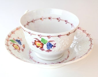 Antique Tea Cup and Saucer Set, Antique Teacup, Victorian Cup Saucer, Handpainted Lustreware Tea Cup Saucer, Vintage Tea Cup and Saucer