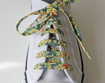 Vintage Style Blue and Cream Floral Patterned Cotton Shoelaces. Great Gift for Ladies