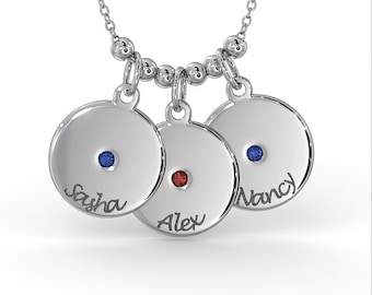 Mother's Disc Necklace with Birthstone in Sterling Silver (1.0mm Thick)